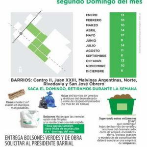 Recolección de restos verdes y de obra segundo domingo del mes