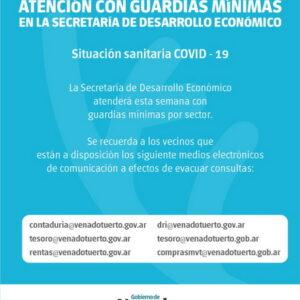 Atención con guardias mínimas en la Secretaría de Desarrollo Económico