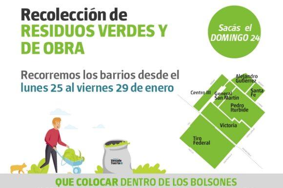 Recolección de restos verdes y de obra