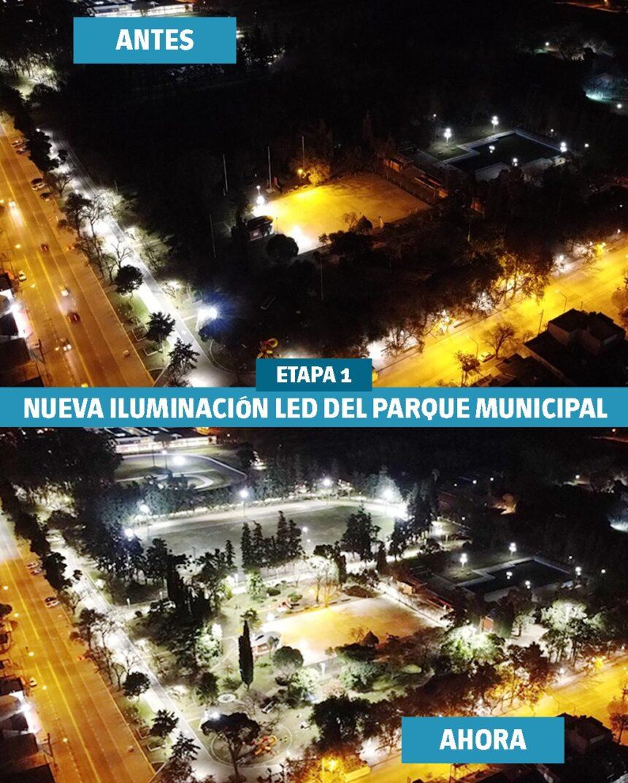 El intendente Chiarella, el senador Enrico y autoridades de la Eléctrica inauguraron la nueva iluminación led en el Parque Municipal