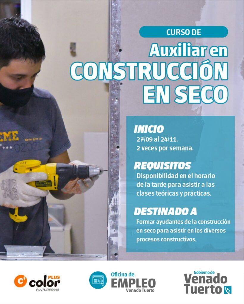 Nueva convocatoria para Curso de Auxiliar de Construcción en Seco