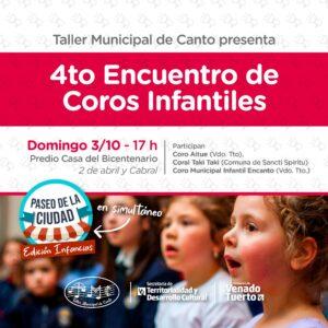 Los coros infantiles tendrán su Cuarto Encuentro en el Parque de la Niñez