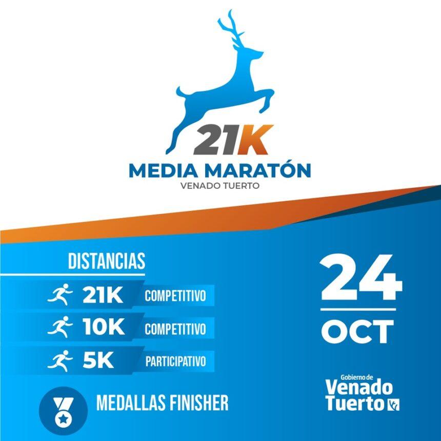 El domingo 24 de octubre se realizará la Media Maratón Venado Tuerto organizada por el Gobierno municipal