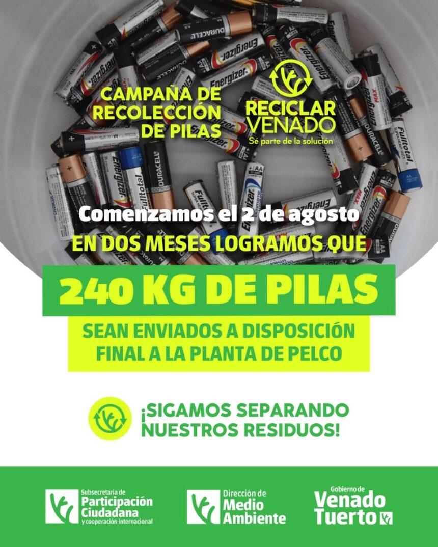 """""""Reciclar Venado"""" recolectó 240 kilos de pilas en desuso desde el inicio de la campaña"""
