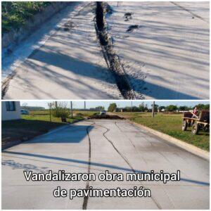 Cuando unos pocos perjudican el esfuerzo de todos: vandalizaron una cuadra recién pavimentada en barrio Cayetano Silva